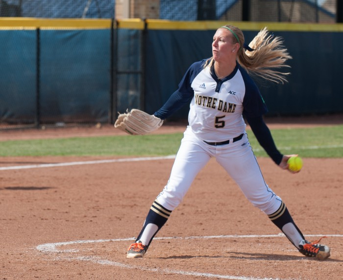 Irish sophomore pitcher Allie Rhodes hurls a pitch in a 12-4 win over Boston College on May 3 at Melissa Cook Stadium.