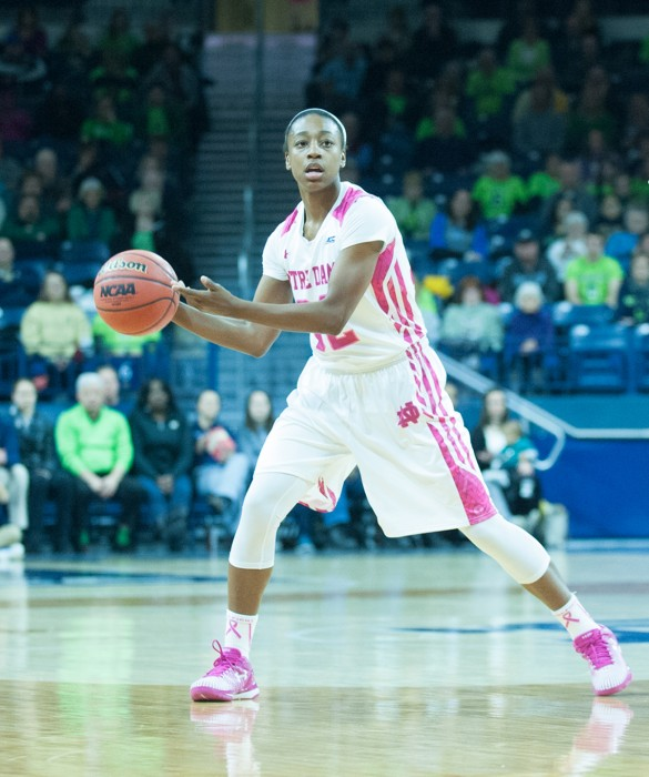 Irish junior Jewell Loyd looks to pass the ball during Notre Dame's 63-50 win over Duke on Monday at the Purcell Pavilion. Loyd leads Notre Dame in scoring this season with 20.7 points per game.