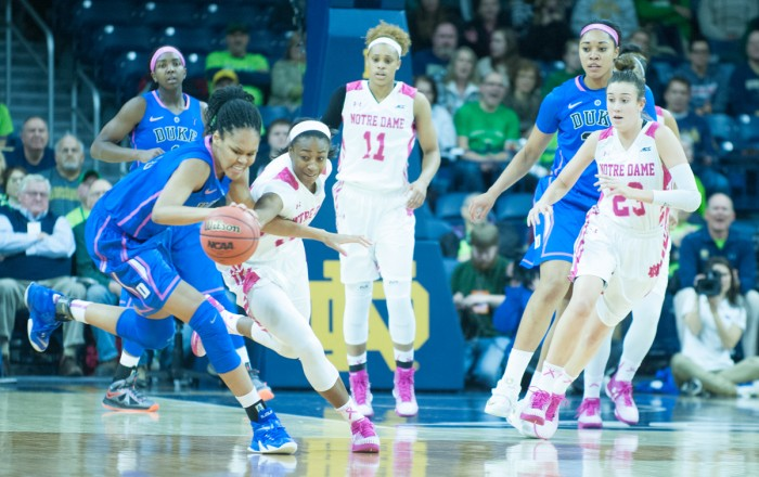 Irish junior guard Jewell Loyd fights for the ball during Notre Dame's 63-50 win over Duke at Purcell Pavilion on Monday. Loyd led all scorers with 31 points in Thursday's win over Georgia Tech.