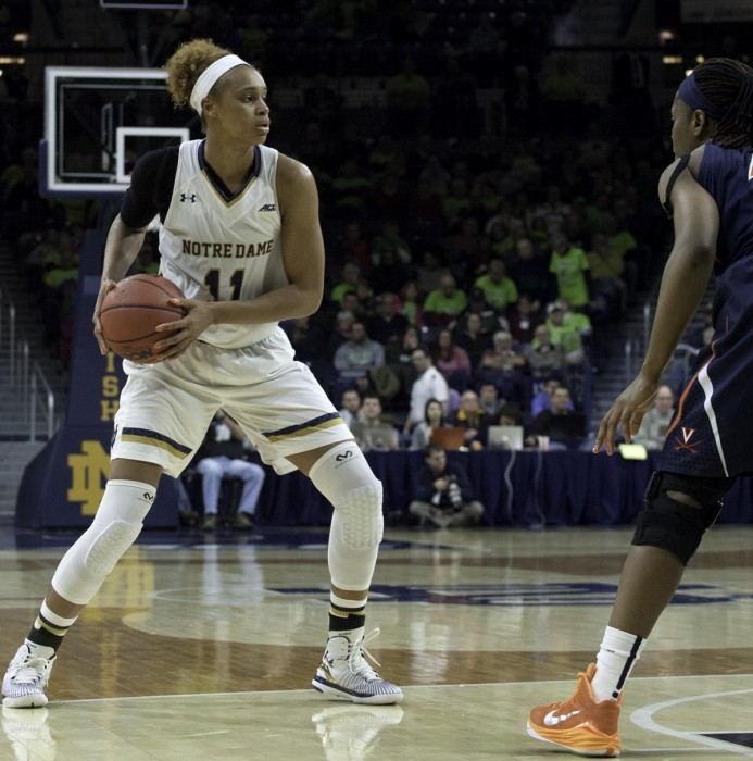 Irish freshman forward Brianna Turner takes in the court during Notre Dame's 75-54 victory over Virginia on Feb. 5 in an ACC match-up at Purcell Pavilion.