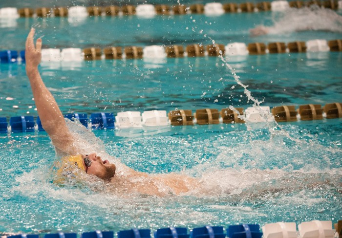 Notre Dame senior John Williamson competes in the men's 200-yard individual medley race on Feb. 7 at Rolfs Aquatic Center.