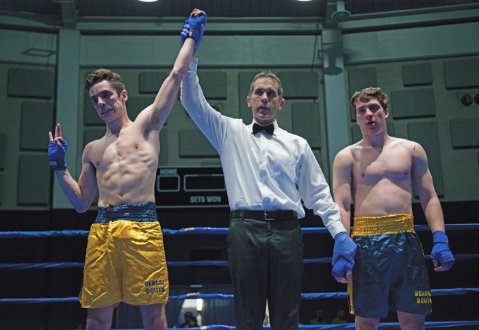 """Sophomore Ryan """"El Cadejo"""" Dunn buries a body shot during his fight against fellow sophomore Chip Blood in the semifinal round of Bengal Bouts on Wednesday night."""