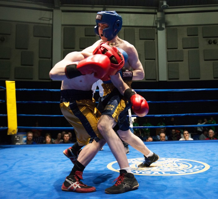 "Sophmore Patrick ""Il Lupo""  Brennan, left, is declared the winner in his semifinal bout against junior EJ ""Binks"" Leppert on Wednesday night."
