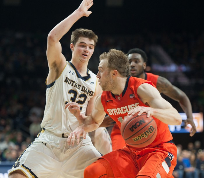 Sophomore guard Steve Vasturia slides in front of his man on Tuesday night in Notre Dame's 65-60 loss to Syracuse at Purcell Pavilion. Vasturia had six points in the game.