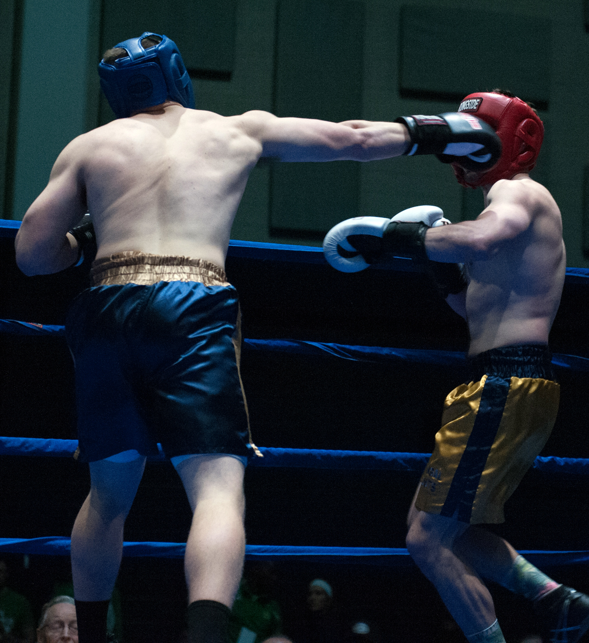 Senior Bengal Bouts captain Bryan Cooley, left, throws a jab during his semifinal victory over graduate student C.J. Pruner on Tuesday at Joyce Fieldhouse. Cooley fights for the 184-pound title tonight.