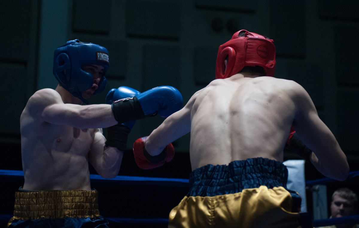 Senior captain Garrity McOsker, left, fights sophomore Joe Sulentic during Tuesday night's Bengal Bouts semifinals at Joyce Fieldhouse. McOsker is a two-time defending Bengal Bouts champion and has ambitions of a professional career in boxing after leaving Notre Dame.