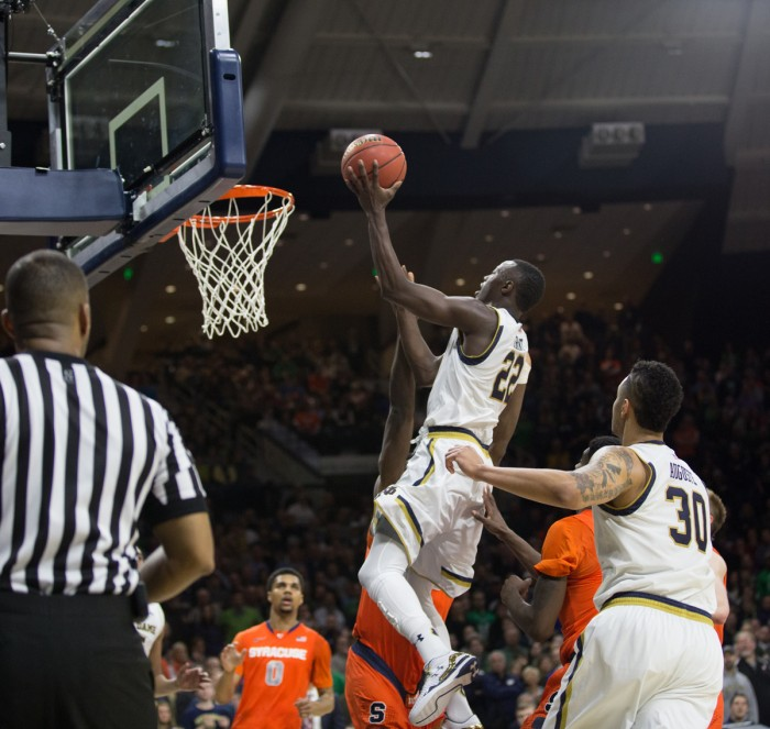Senior guard Jerian Grant goes up for a layup attempt during Notre Dame's 65-60 loss to Syracuse on Feb. 24 at Purcell Pavilion. Grant finished tied for second in scoring for the Irish with 13 points.