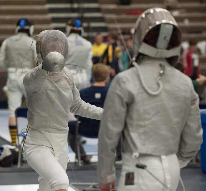 Sophomore sabre Allison Barry lunges on day two of the DeCicco Duals on Feb. 8 at Castellan Family Fencing Center. Notre Dame's men's and women's teams finished the weekend 9-0.