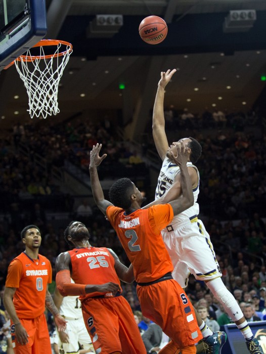 Irish freshman forward Bonzie Colson jumps for a rebound in Notre Dame's 65-60 loss to Syracuse on Feb. 24 at Purcell Pavilion.