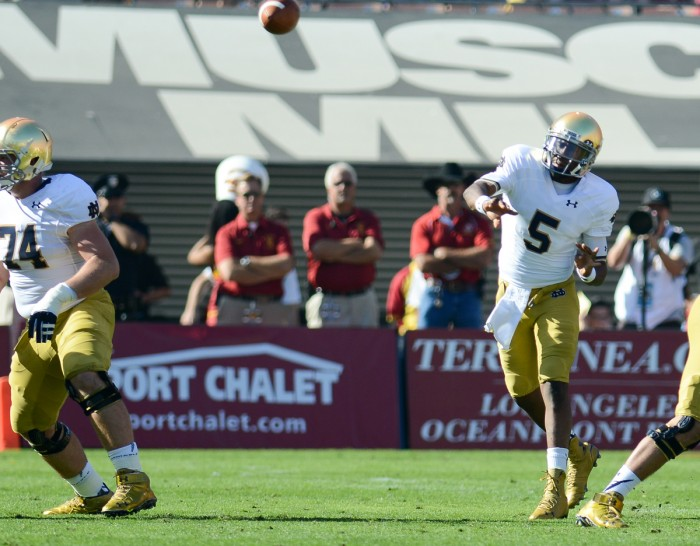 Irish senior quarterback Everett Golson throws a pass during Notre Dame's 49-14 loss to USC on Nov. 29 at LA Coliseum.