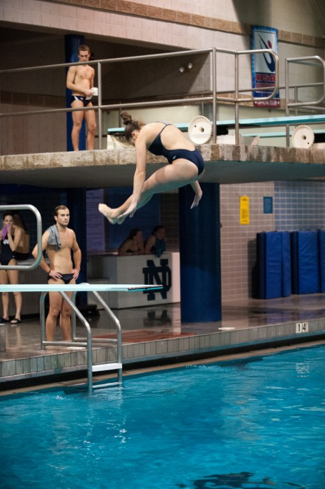 Senior diver Allison Casareto competes at Rolfs Aquatic Center on Feb. 7.  Casareto is the only Irish diver to qualify for the NCAAs.