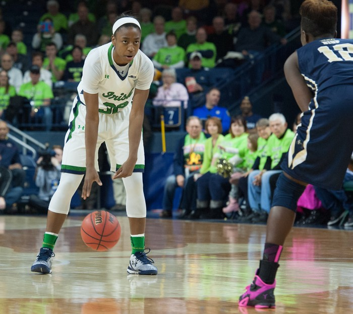 Junior guard Jewell Loyd stares down a defender during Notre Dame's win over Pittsburgh on Feb. 23.