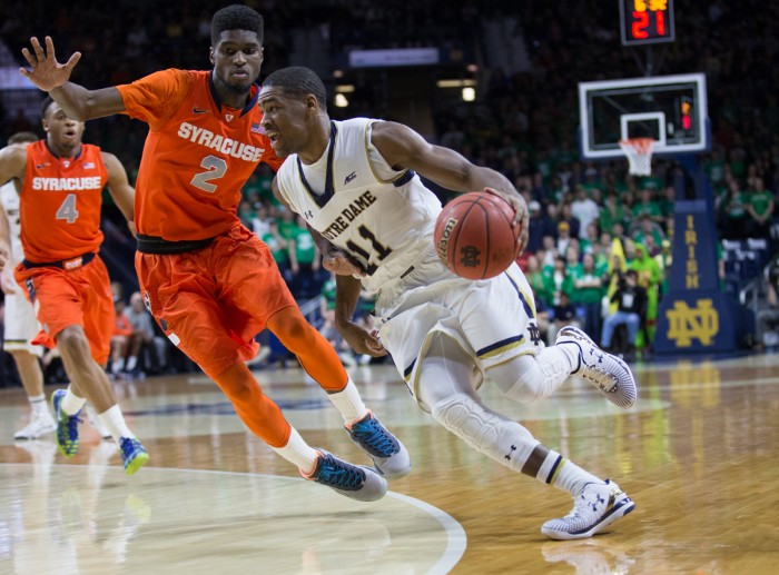 Irish sophomore guard Demetrius Jackson drives by a defender during Notre Dame's 65-60 loss to Syracuse.