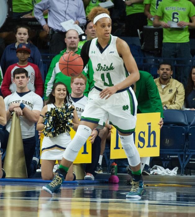 Irish freshman forward Brianna Turner looks downcourt during Notre Dame's win over Pittsburgh on Feb. 23.