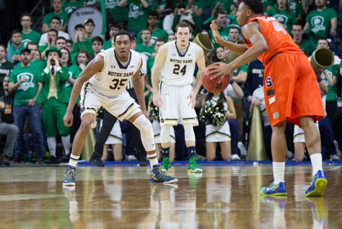 Freshman forward Bonzie Colson plays defense during Notre Dame's 65-60 loss to Syracuse on Feb. 24.