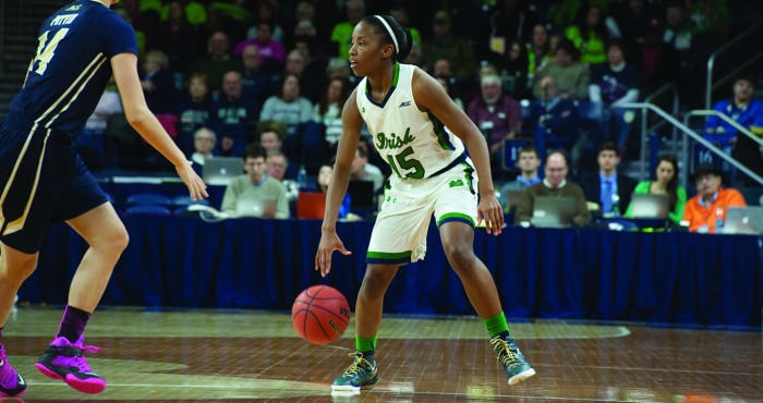 Irish sophomore guard Lindsay Allen surveys the court during Notre Dame's win over Pittsburgh on Feb. 23.