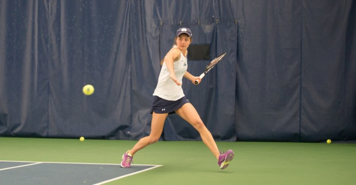 Sophomore Mary Closs lines up a forehand during Notre Dame's 6-1 loss to No. 3 Stanford on Feb. 6 at Eck Tennis Pavilion.