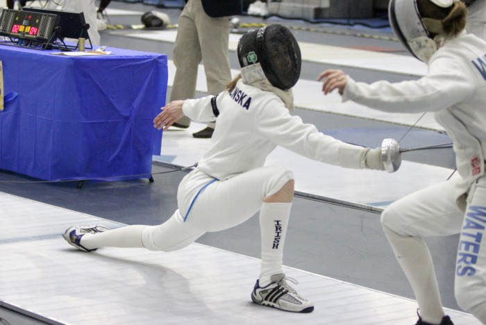 Sophomore epeeist Eva Niklinska fights during the DeCicco Duals on Feb. 9 at the Castellan Family Fencing Center.
