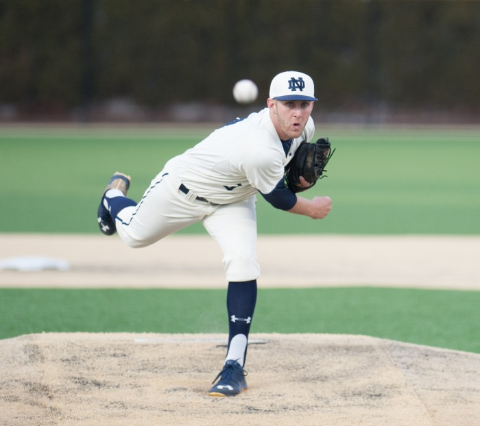 Irish sophomore pitcher Ryan Smoyer delivers a pitch in Notre Dame's 8-3 win over Central Michigan on March 18.
