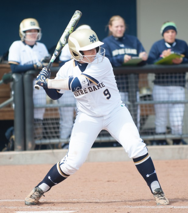 Irish senior third baseman Katey Haus waits for a pitch in Notre Dame's 6-1 win over Georgia Tech on Saturday at Melissa Cook Stadium. Haus had one RBI in the victory.