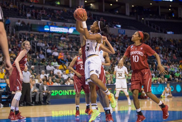Irish sophomore guard Lindsay Allen vs. Stanford on March 27