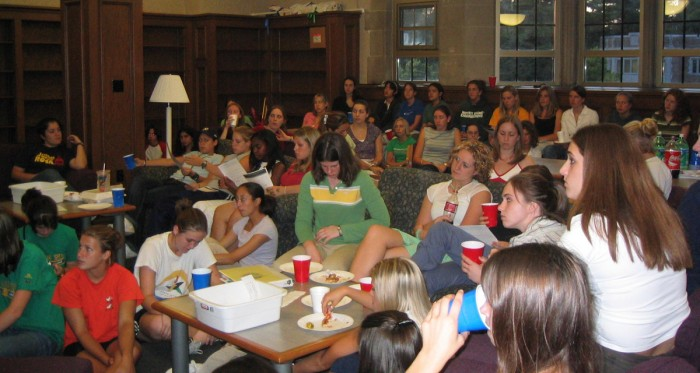 Members of the Society of Women Engineers attend the monthly meetings and discuss the club's future plans and events.