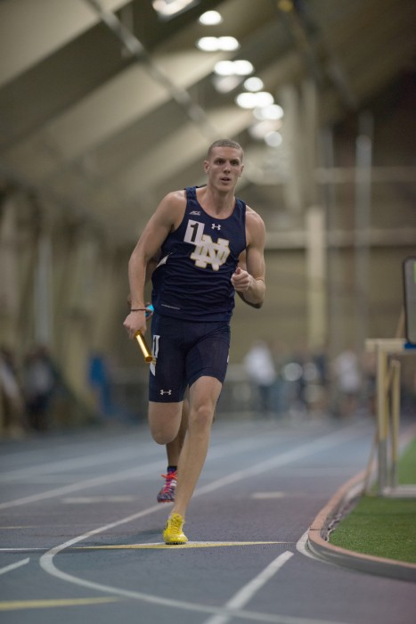 Irish senior sprinter Chris Giesting runs in the 4x400-meter relay  at Loftus Sports Center on Jan. 24.