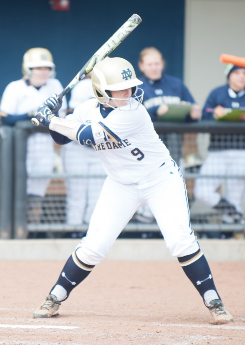 Irish senior infielder Katey Haus gets ready to swing  in Notre Dame's 13-0 win over Georgia Tech at Melissa Cook Stadium.