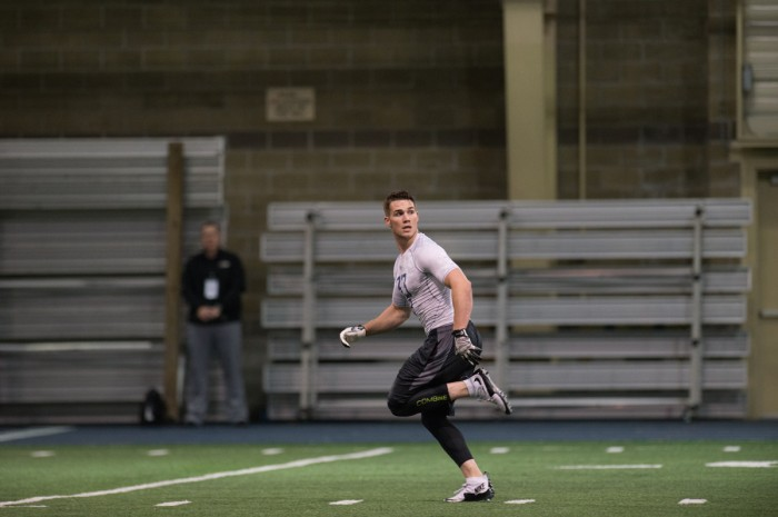 Former Irish running back Cam McDaniel looks for a pass at Notre Dame's Pro Day at Loftus Sports Center on March 31.