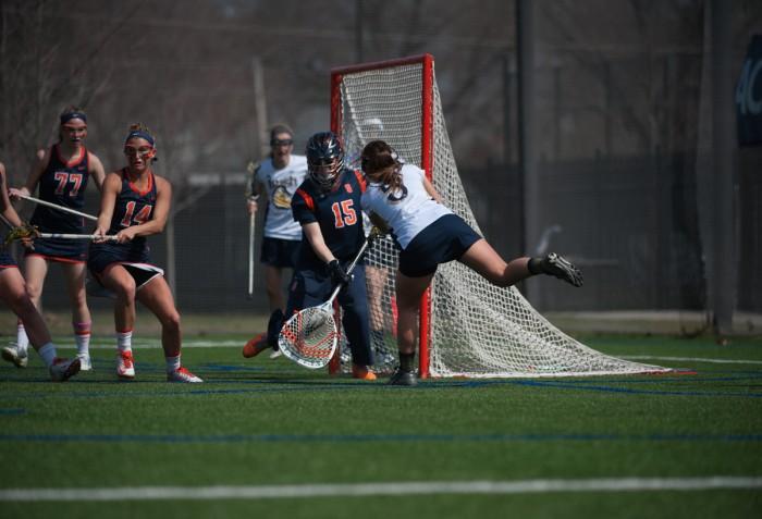 Irish junior attack Rachel Sexton takes a shot against the Syracuse Orange on April 19 in an 18-10 loss at Arlotta Stadium.