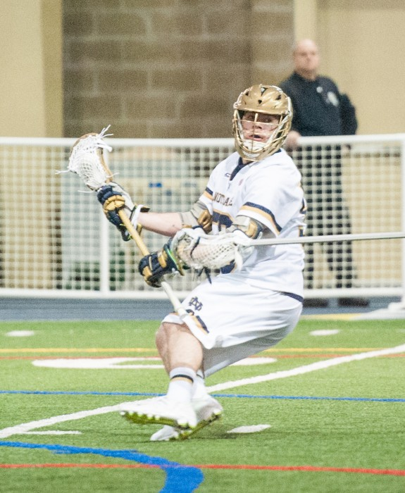Notre Dame junior attack Matt Kavanaugh lines up to shoot at Loftus Sports Center on February  14 against Georgetown.