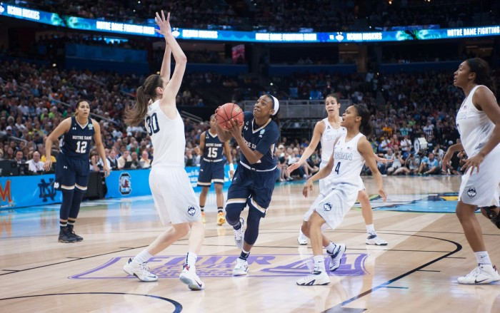 Junior guard Jewell Loyd drives the lane during Notre Dame's 63-53 loss to Connecticut on Tuesday in the national championship game.