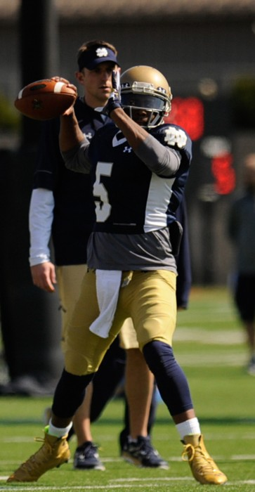 Graduate student quarterback Everett Golson throws a pass during spring practice Saturday at LaBar Practice Complex. Golson is competing with junior Malik Zaire for the starting job.