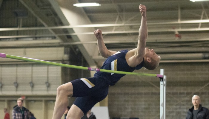 Freshman Hunter Holston vaults the high jump during the Blue-Gold Meet on Dec. 5, 2014 Holston would go on to win the event at Loftus Sports Center.