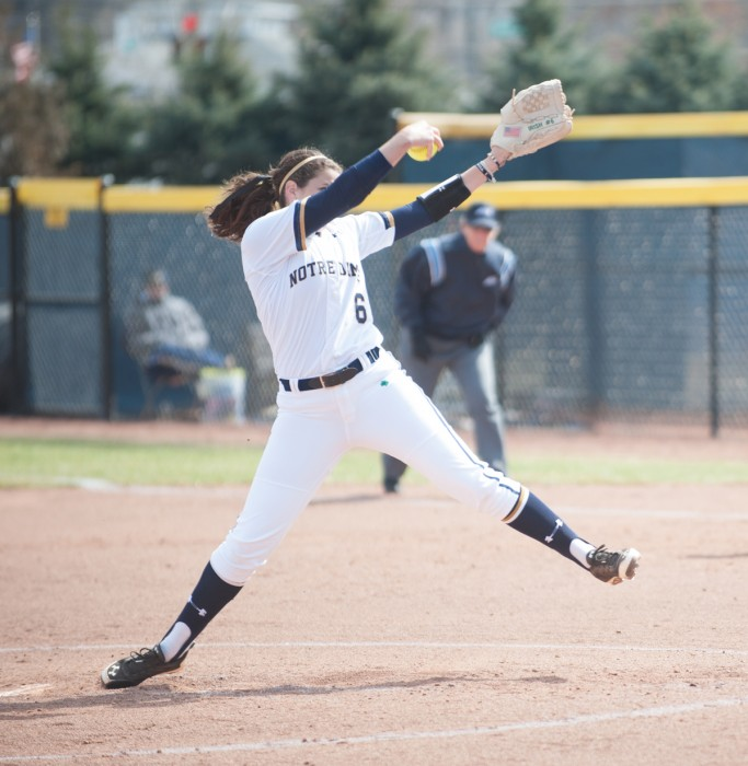 Sophomore Rachel Nasland delivers a pitch during Notre Dame's 6-1 win over Georgia Tech on March 21 at Melissa Cook Stadium.