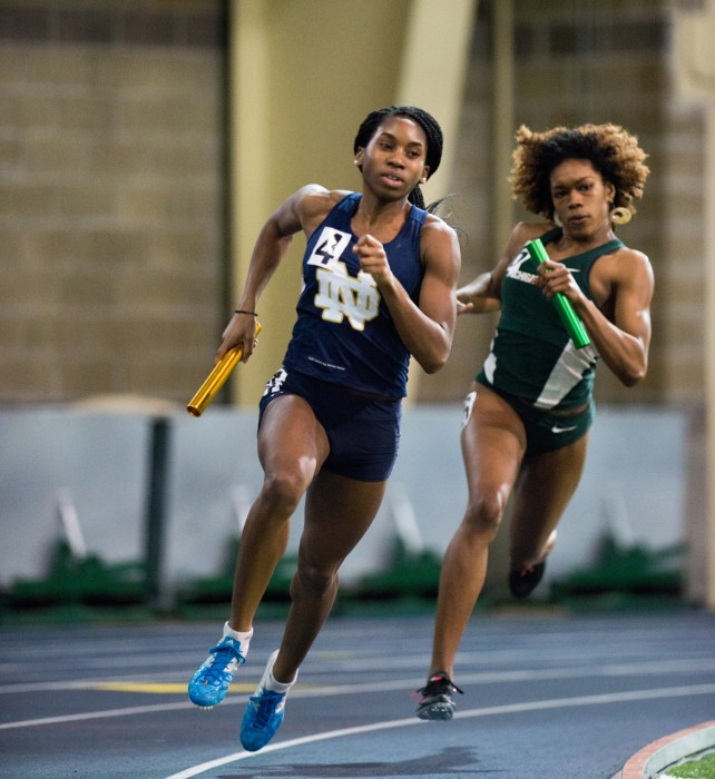 Junior sprinter Margaret Bamgbose competes in a relay during the Notre Dame Invitational at Loftus Sports Center on Jan. 24.