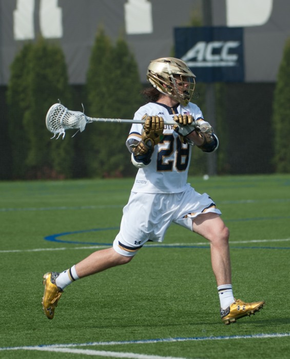 Senior attack Conor Doyle looks to pass in a 15-14 win against North Carolina on Sunday. Doyle had three goals in the victory.