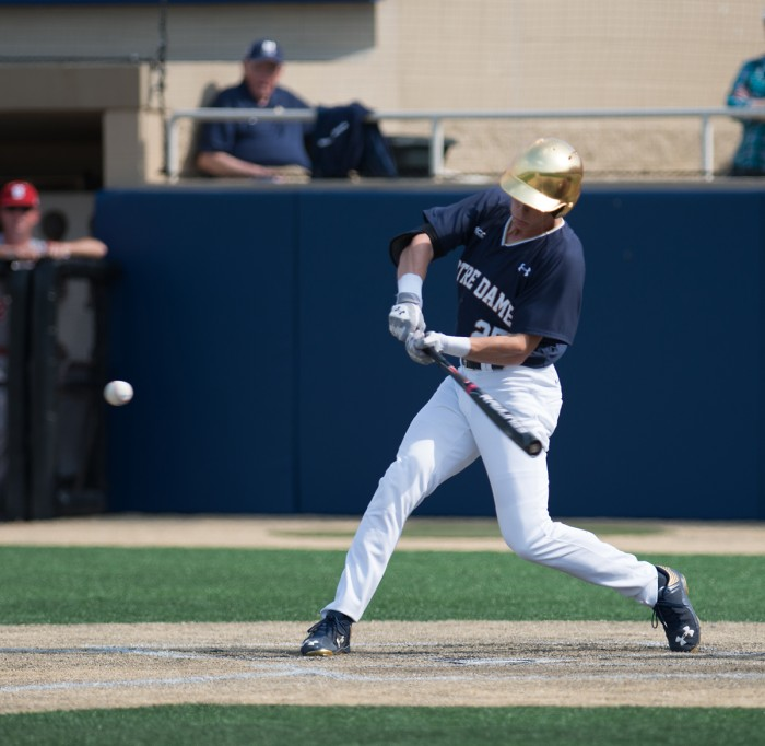 Senior outfielder Robert Youngdahl offers at a pitch Sunday  during Notre Dame's doubleheader against North Carolina State.