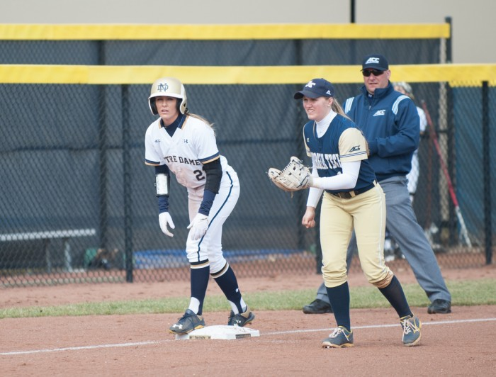 Irish sophomore outfielder Karley Wester waits on a pitch during a win against Georgia Tech on March 21 at Melissa Cook Stadium.