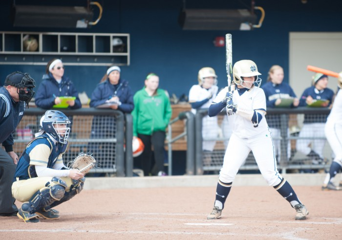 Irish senior infielder Katey Haus readies for a pitch during a win over Georgia Tech on March 21 at Melissa Cook Stadium. Haus leads the Irish with 11 home runs and 51 runs batted in this season.