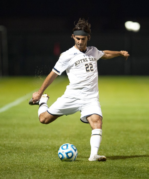 Notre Dame senior defender Luke Mishu winds up for a kick during a 1-0 win over Northwestern at Alumni Stadium on Oct. 14.