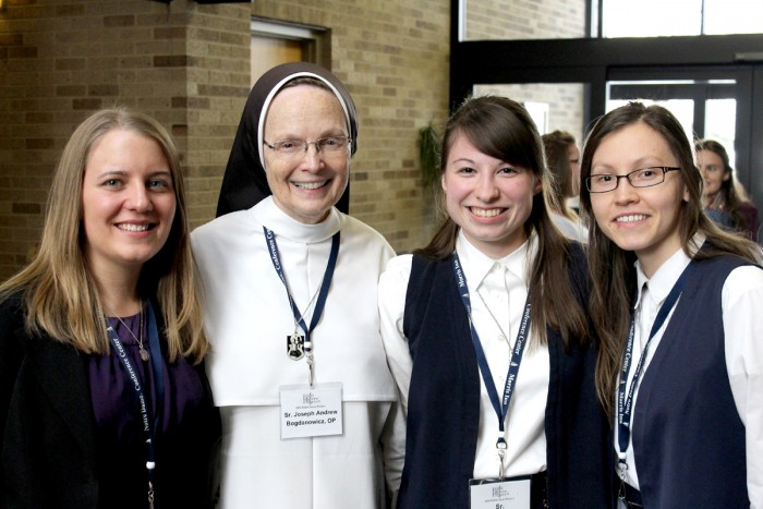 Senior Christina Serena (left) will join the Dominican Sisters of Mary, Mother of the Eucharist in August. To her left are Sister Joseph Andrew, foundress and vocations director of the order, and two postulants.