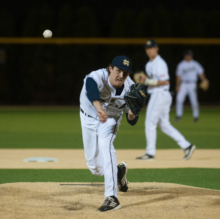 Irish senior Pat Connaughton delivers a pitch during a win 2-1 win over Clemson on May 9, 2014. He went eight innings giving up one run on three hits.