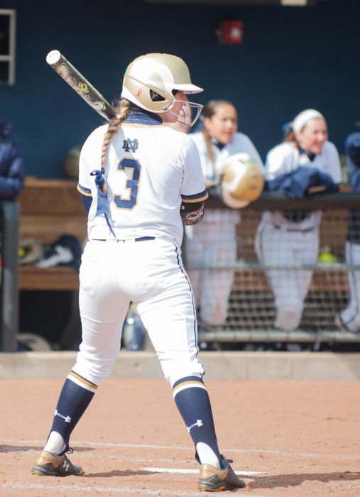 Irish senior outfielder Emilee Koerner waits for a pitch during Notre Dame's doubleheader against Georgia Tech on March 21.
