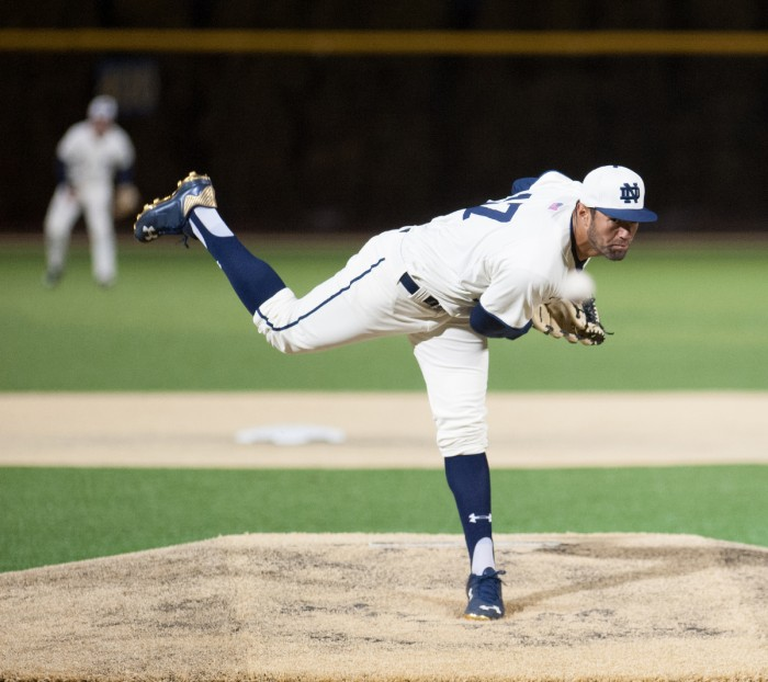 Irish right-hander Cristian Torres delivers a pitch during Notre Dame's 8-3 win over Central Michigan on March 18 at Frank Eck Stadium.