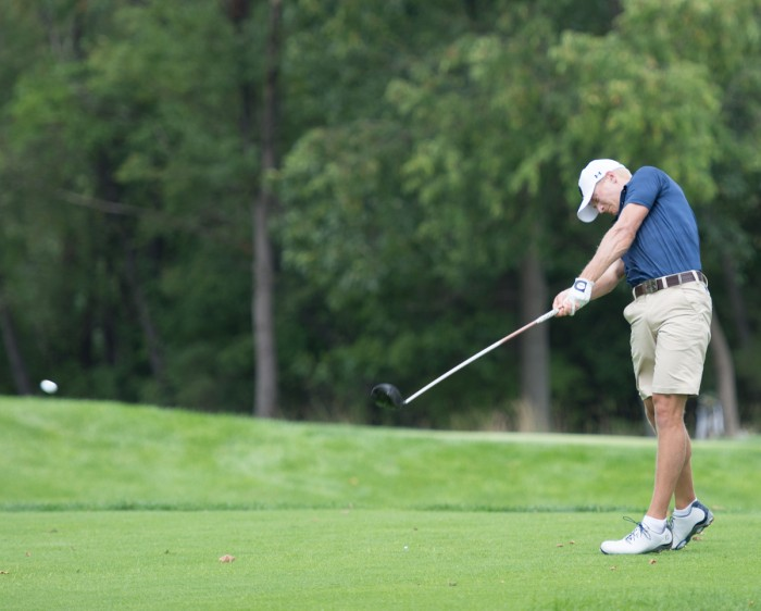 Irish senior David Lowe drives the ball during the Notre Dame Kickoff Challenge at the Warren Golf Course on Aug. 31.
