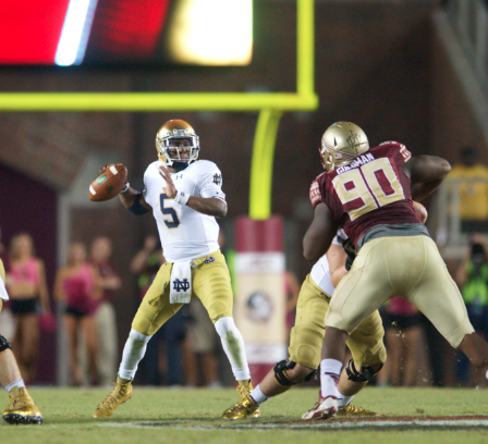 Golson throws against Florida State on Oct. 18 in Tallahassee, Florida.