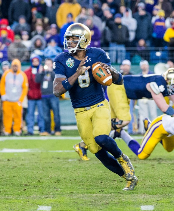 Irish junior quarterback Malik Zaire surveys the field during Notre Dame's 31-28 win over LSU in the Franklin American Mortgage Music City Bowl at LP Field in Nashville, Tennessee.