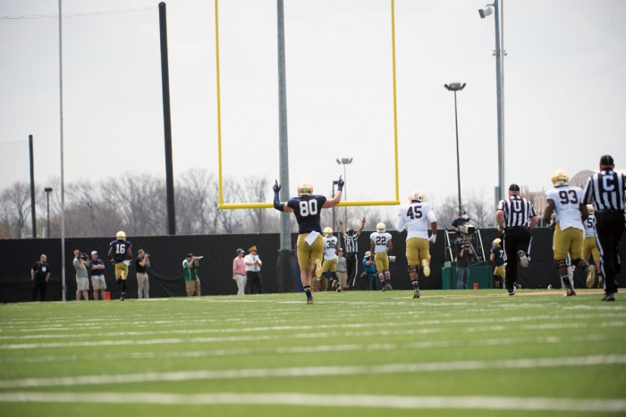 Notre Dame junior tight end Durham Smythe celebrates after a score during the Blue-Gold game on April 18 at LaBar Practice Fields.