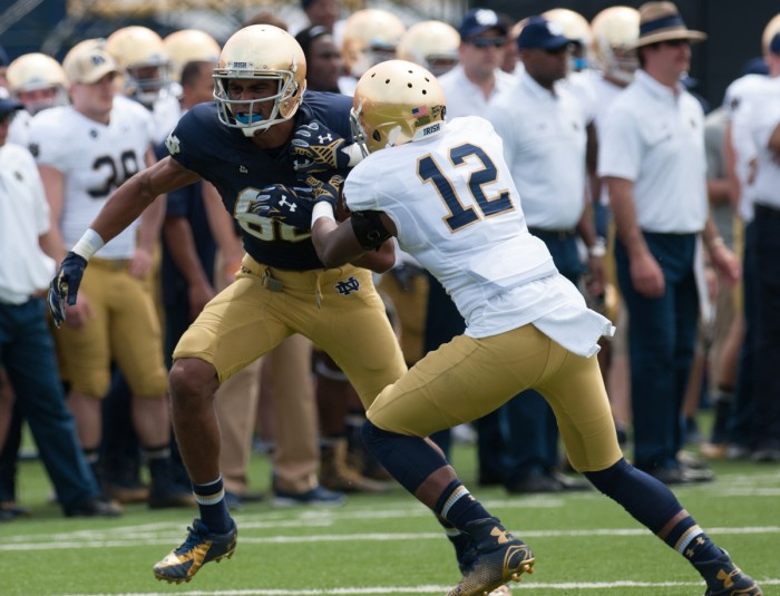 Junior cornerback Devin Butler defends junior receiver Corey Robinson during the Blue-Gold Game at LaBar Practice Complex on April 18. Butler started two games for the Irish last season.